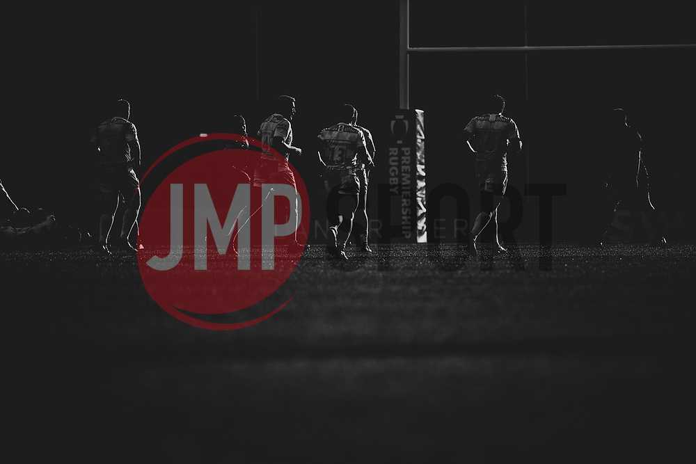The Gloucester United backs run forwards during a break in play - Mandatory by-line: Ryan Hiscott/JMP - 17/11/2018 - RUGBY - Sandy Park Stadium - Exeter, England - Exeter Braves v Gloucester United - Premiership Rugby Shield