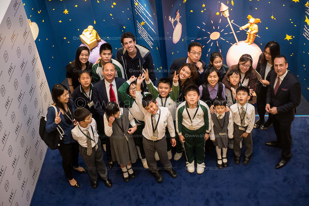 Arnau Nazare-Aga artist of the The Little Prince Exhibition of and Olivier D' Agay great-nephew of the Antonie de Saint-Exupéry attends the Ebenezer School Student Tour at The Little Prince Exhibitions at the Pacific Place shopping mall on 2nd of December 2015 in Hong Kong, China. Photo by Aitor Alcalde / studioEAST