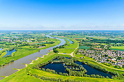 Nederland, Gelderland, Gemeente Lingewaard, 29-05-2019; de Pannerdensche Kop met overlaat en regelwerk, de Groene rivier bij Pannerden. De Rijn splitst zich hier in Waal en Pannerdensch Kanaal. <br /> The Rhine bifurcates into river Waal and Pannerdensch Channel. <br /> <br /> luchtfoto (toeslag op standard tarieven);<br /> aerial photo (additional fee required);<br /> copyright foto/photo Siebe Swart