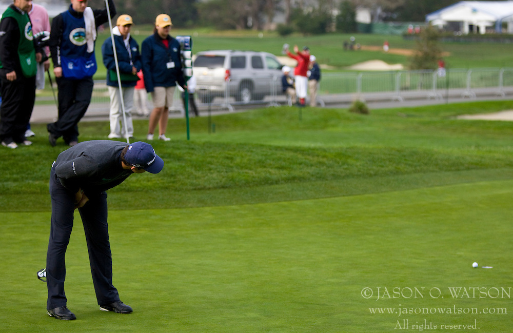 February 12, 2010; Pebble Beach, CA, USA; Padrig Harrington reacts to a missed put on the second hole during the second round of the AT&T Pebble Beach Pro-Am at Pebble Beach Golf Links.