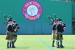 May 5, 2013; Bronx, NY; USA; Bagpipers play before the start of the game match between New York and Leitrim at Gaelic Park.