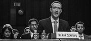 WASHINGTON, DC (April 10, 2018) -- Facebook founder and Chief Executive Officer Mark Zuckerberg testifies before the U.S. Senate on hearings lead by reports that Cambridge Analytica, a British political consulting firm linked to the Trump campaign, harvested data from 87 million Facebook users.  Photo by Johnny Bivera
