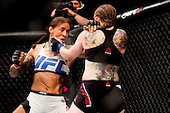 8-5-2016 ROTTERDAM - Mixed Martial Arts - UFC Fight Night - Germaine de Randamie v Anna Elmose - 8/5/16 - Germaine de Randamie celebrates after winning her fight. in ahoy rotterdam COPYRIGHT ROBIN UTRECHT