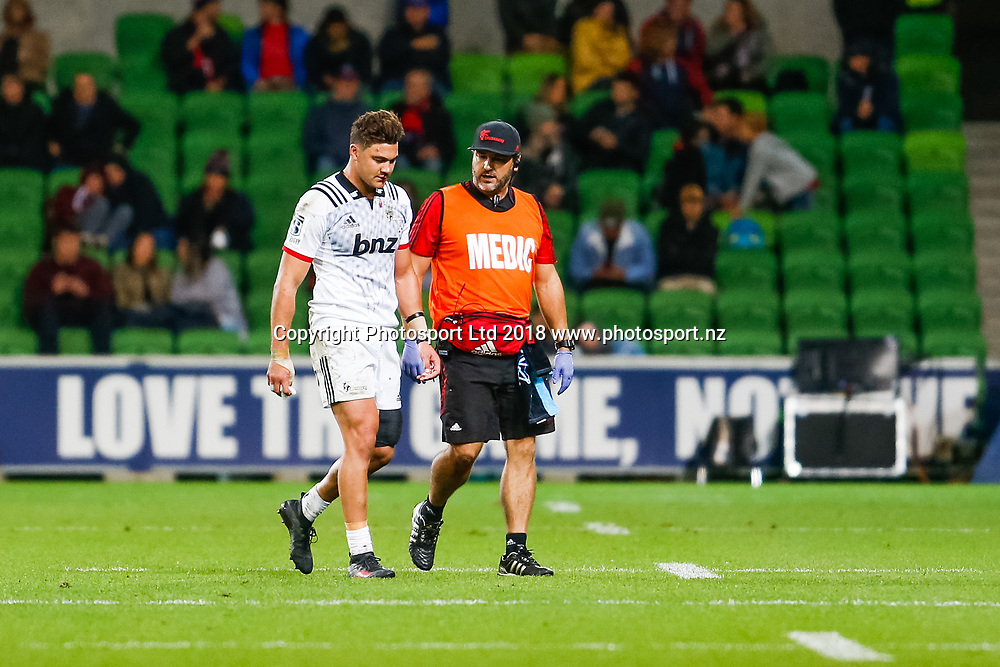 David Havili  walks off injured during Rebels v Crusaders, 2018 Super Rugby season, AAMI Park, Melbourne, Australia. 4 May 2018. Copyright Image: Brendon Ratnayake / www.photosport.nz