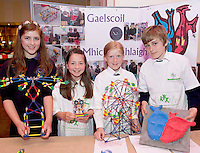 Maeve Samali, Ailbhe Keenan and Sorcha Greaney and Sean E Coleman from Gaelscoil Mhic Amhlaigh at the Medtronic Community Event , comprising of projects about Healthy Living and the heart, KNEX finals and Lean Sigma catapult competition organised by the Galway Education Centre at the Radisson Blu Hotel Galway. Photo:Andrew Downes.