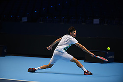 November 10, 2017 - London, England, United Kingdom - Dominic Thiem of Austria is pictured during a training session prior to the Nitto ATP World Tour Finals at O2 Arena, London on November 10, 2017. (Credit Image: © Alberto Pezzali/NurPhoto via ZUMA Press)