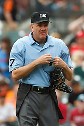 August 7, 2011; San Francisco, CA, USA;  MLB umpire Mike Everitt (57) stands behind home plate during the first inning between the San Francisco Giants and the Philadelphia Phillies at AT&T Park. San Francisco defeated Philadelphia 3-1.