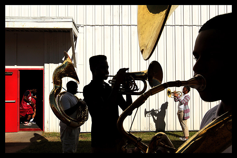 Arkansas Democrat-Gazette/BENJAMIN KRAIN --09/23/2013--<br /> Horn players with the Pine Bluff High School marching band, from left, Kentae Mitchner, Grant Grady, Ashanti Allen and Eric Hall practice with other band mates after school on Monday.