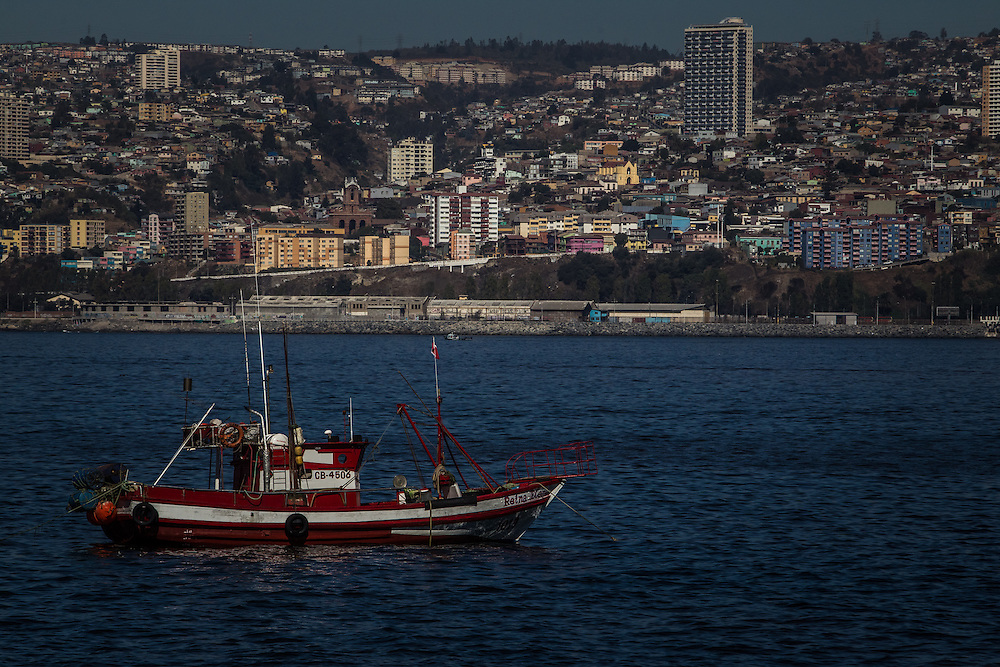 VALPARAISO, CHILE - MARCH 17, 2014: Artisanal fishing boats anchored off the coast of Valparaiso, Chile. PHOTO: Meridith Kohut for The World Wildlife Fund