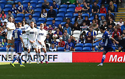 Cardiff City's Peter Whittingham takes a free kick - Photo mandatory by-line: Paul Knight/JMP - Mobile: 07966 386802 - 06/04/2015 - SPORT - Football - Cardiff - Cardiff City Stadium - Cardiff City v Bolton Wanderers - Sky Bet Championship