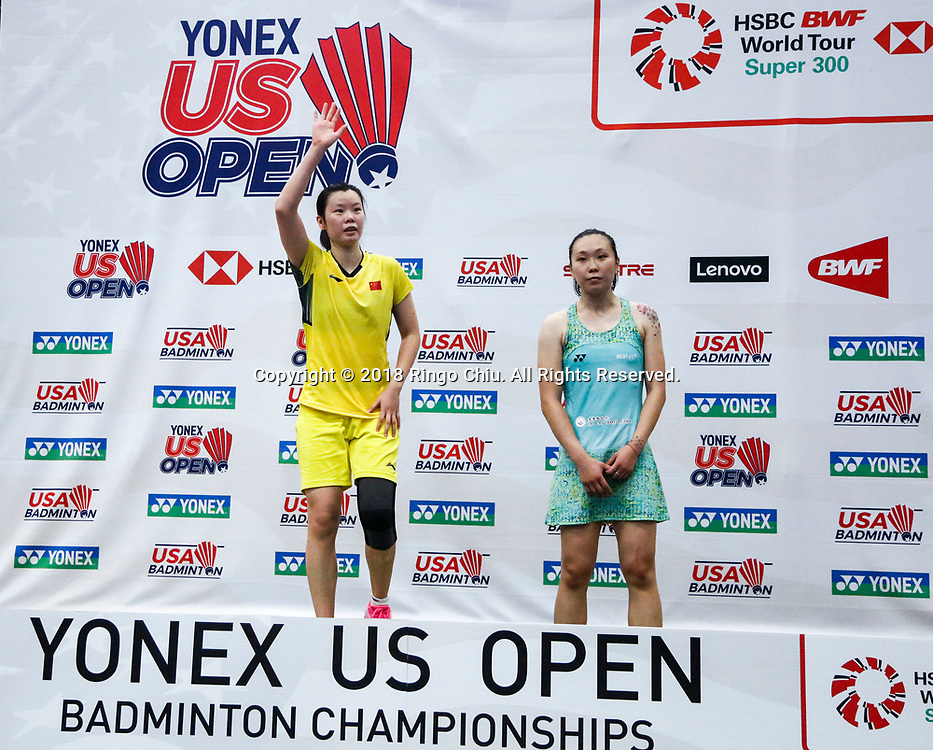 Li Xuerui (L) of China, and Beiwen Zhang of USA, in podium after the women's singles final match at the U.S. Open Badminton Championships in Fullerton, California on June 17, 2018. Li won 2-1. (Photo by Ringo Chiu)<br /> <br /> Usage Notes: This content is intended for editorial use only. For other uses, additional clearances may be required.
