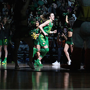 March 31, 2019; Portland, OR, USA;  Oregon Ducks guard Sabrina Ionescu (20) announced into the line-up in the Elite Eight of the NCAA Women's Tournament at Moda Center.<br /> Photo by Jaime Valdez