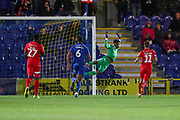 AFC Wimbledon goalkeeper Nathan Trott (1) diving as free kick goes wide during the Leasing.com EFL Trophy match between AFC Wimbledon and Leyton Orient at the Cherry Red Records Stadium, Kingston, England on 8 October 2019.