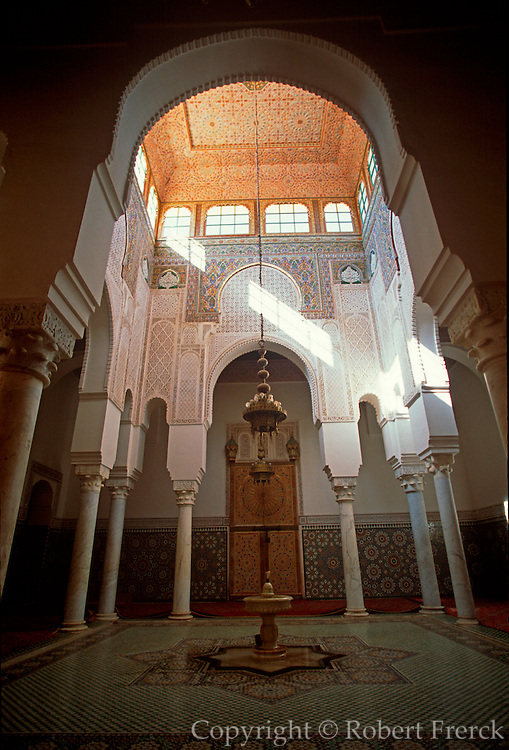 MOROCCO, MEKNES Tomb of Moulay Ismail, reigned 1672-1727, memorial mosque with fountain next to tomb
