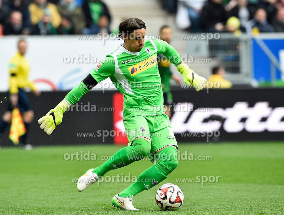 04.04.2015, Rhein Neckar Arena, Sinsheim, GER, 1. FBL, TSG 1899 Hoffenheim vs Borussia Moenchengladbach, 27. Runde, im Bild Torwart Yann Sommer Borussia Moenchengladbach am Ball Aktion // during the German Bundesliga 27th round match between TSG 1899 Hoffenheim and Borussia Moenchengladbach at the Rhein Neckar Arena in Sinsheim, Germany on 2015/04/04. EXPA Pictures &copy; 2015, PhotoCredit: EXPA/ Eibner-Pressefoto/ WEBER<br /> <br /> *****ATTENTION - OUT of GER*****