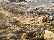 02 AUGUST 2013 - KOH SAMET, RAYONG, THAILAND:  Oily water washes up on Ao Prao beach on Koh Samet island Friday. About 50,000 liters of crude oil poured out of a pipeline in the Gulf of Thailand over the weekend authorities said. The oil made landfall on the white sand beaches of Ao Prao, on Koh Samet, a popular tourist destination in Rayong province about 2.5 hours southeast of Bangkok. Workers from PTT Global, owner of the pipeline, up to 500 Thai military personnel and volunteers are cleaning up the beaches. Tourists staying near the spill, which fouled Ao Prao beach, were evacuated to hotels on the east side of the island, which was not impacted by the spill. Officials have not said when Ao Prao beach would reopen. PTT Global Chemical Pcl is part of state-controlled PTT Pcl, Thailand's biggest energy firm.   PHOTO BY JACK KURTZ
