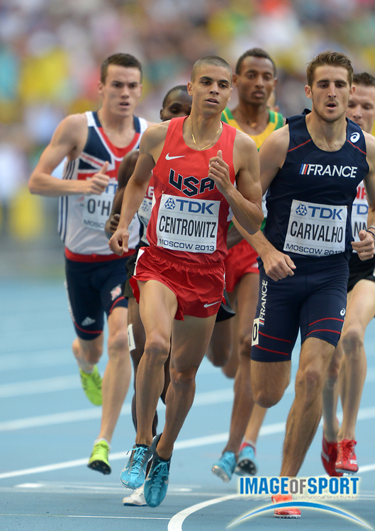 Aug 18, 2013; Moscow, RUSSIA; Matthew Centrowitz (USA) places second in the 1,500m in 3:36.78 in the 14th IAAF World Championships in Athletics at Luzhniki Stadium.