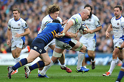 Carl Fearns of Bath Rugby takes on the Leinster defence - Photo mandatory by-line: Patrick Khachfe/JMP - Mobile: 07966 386802 04/04/2015 - SPORT - RUGBY UNION - Dublin - Aviva Stadium - Leinster Rugby v Bath Rugby - European Rugby Champions Cup