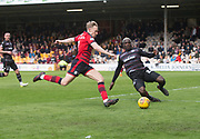 28th April 2018, Fir Park, Motherwell, Scotland; Scottish Premier League football, Motherwell versus Dundee; Cedric Kipre of Motherwell tackles A-Jay Leitch-Smith of Dundee