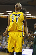 January 27 2010: Iowa guard Kachine Alexander (21) is pumped up after a basket during the first half of an NCAA women's college basketball game at Carver-Hawkeye Arena in Iowa City, Iowa on January 27, 2010. Iowa defeated Michigan State 66-64.