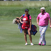 John Daly, USA, with his caddie, girlfriend Anna Cladakis,  during the third round of the Travelers Championship at the TPC River Highlands, Cromwell, Connecticut, USA. 21st June 2014. Photo Tim Clayton