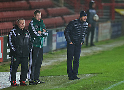 WREXHAM, WALES - Tuesday, November 17, 2015: Wales's head coach Geraint Williams and Romania's head coach Cristian Dulca during the UEFA Under-21 Championship Qualifying Group 5 match at the Racecourse Ground. (Pic by David Rawcliffe/Propaganda)