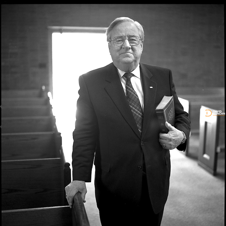 Lynchburg, VA. The Rev Jerry Falwell seen here at the small chapel located on the Liberty University campus in 2001, died of heart failure May 15th, 2007. The Rev Falwall was the founder and Chancellor of Liberty University and Founder and Pastor of the historic Thomas Road Baptist Church.  He was 73..Photo by David Duncan.