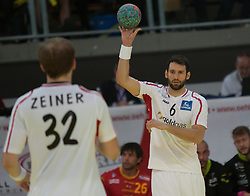 10.06.2015, Olympiahalle, Innsbruck, AUT, EHF Euro Qualifikation, Gruppe 7, Österreich vs Spanien, im Bild Gerald Zeiner (AUT) und Dominik Schmid (AUT) // during the EHF Euro Qualifikation group 7 match between Austria and Spain at Olympiahalle, Innsbruck, Austria on 2015/06/10. EXPA Pictures © 2015, PhotoCredit: EXPA/ Jakob Gruber