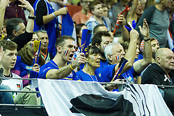 08.01.2016, Max Schmeling Halle, Berlin, GER, CEV Olympia Qualifikation, Frankreich vs Bulgarien, im Bild Jubel bei den franzesischen Fanso // during 2016 CEV Volleyball European Olympic Qualification Match between France and Bulgaria at the  Max Schmeling Halle in Berlin, Germany on 2016/01/08. EXPA Pictures © 2016, PhotoCredit: EXPA/ Eibner-Pressefoto/ Wuechner<br /> <br /> *****ATTENTION - OUT of GER*****