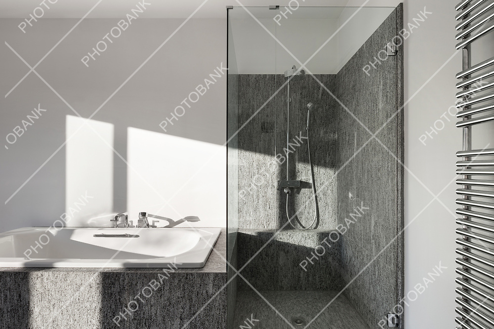 Interior, modern bathroom of an house, bathtub and shower