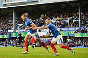 Portsmouths Adam McGurk celebrates his 2nd goal during the The FA Cup match between Portsmouth and Macclesfield Town at Fratton Park, Portsmouth, England on 7 November 2015. Photo by Adam Rivers.