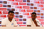 Daniel Sturridge and Danny Welbeck of England during the England press conference at Estádio Claudio Coutinho, Rio de Janeiro<br /> Picture by Andrew Tobin/Focus Images Ltd +44 7710 761829<br /> 16/06/2014