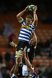 Jan de Klerk of Western Province gets up high to take the high ball during the Currie Cup Premier Division match between the DHL Western Province and the Sharks held at the DHL Newlands Rugby Stadium in Cape Town, South Africa on the 3rd September  2016<br /> <br /> Photo by: Shaun Roy / RealTime Images
