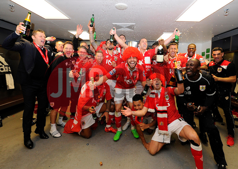 Bristol City players and back room staff celebrate in the dressing room  - Photo mandatory by-line: Joe Meredith/JMP - Mobile: 07966 386802 - 22/03/2015 - SPORT - Football - London - Wembley Stadium - Bristol City v Walsall - Johnstone Paint Trophy Final