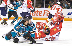 March 13, 2010; San Jose, CA, USA; San Jose Sharks center Scott Nichol (21) collides with Florida Panthers goalie Tomas Vokoun (29) out of the crease during the first period at HP Pavilion. Florida defeated San Jose 3-2 in overtime. Mandatory Credit: Jason O. Watson / US PRESSWIRE