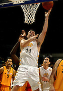 Saints player Lee Barlow jumps for the hoop during the NBL basketball match between the Wellington Saints and the Mighty Hawks, 14 April, 2002 at the Wellington Event Centre. Photo: PHOTOSPORT<br /><br /><br /><br />046439 *** Local Caption ***