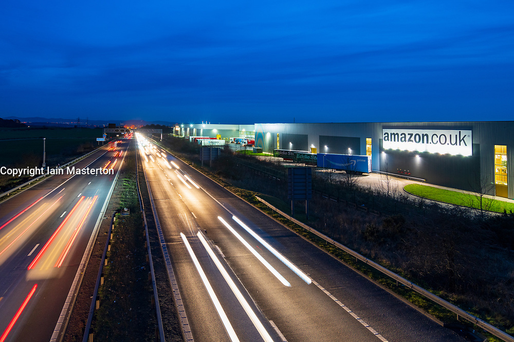 View of Amazon distribution warehouse centre in Dunfermline, Fife, Scotland