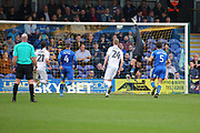 Northampton Town midfielder Matthew (Matt) Taylor (31) shooting just over from a free kick during the EFL Sky Bet League 1 match between AFC Wimbledon and Northampton Town at the Cherry Red Records Stadium, Kingston, England on 11 March 2017. Photo by Matthew Redman.