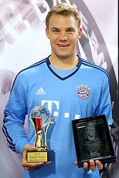 20.05.2015, Saebener Strasse, Muenchen, GER, 1. FBL, Manuel Neuer Europas und Weltsportler 2014, im Bild Manuel Neuer (FC Bayern Muenchen) // receives the AIPS Player of the Year 2014 award at the Saebener Strasse in Muenchen, Germany on 2015/05/20. EXPA Pictures © 2015, PhotoCredit: EXPA/ Eibner-Pressefoto/ FCB/POOL<br /> <br /> *****ATTENTION - OUT of GER*****