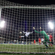 ANDORRA LA VELLA, ANDORRA. June 11.   Kurt Zouma #15 of France shoots over the bar from close range defended by goalkeeper Josep Gomes #1 of Andorra during the Andorra V France 2020 European Championship Qualifying, Group H match at the Estadi Nacional d'Andorra on June 11th 2019 in Andorra (Photo by Tim Clayton/Corbis via Getty Images)