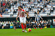 Stoke City Forward Marko Arnautovic controls the long pass during the Barclays Premier League match between Newcastle United and Stoke City at St. James's Park, Newcastle, England on 31 October 2015. Photo by Craig McAllister.