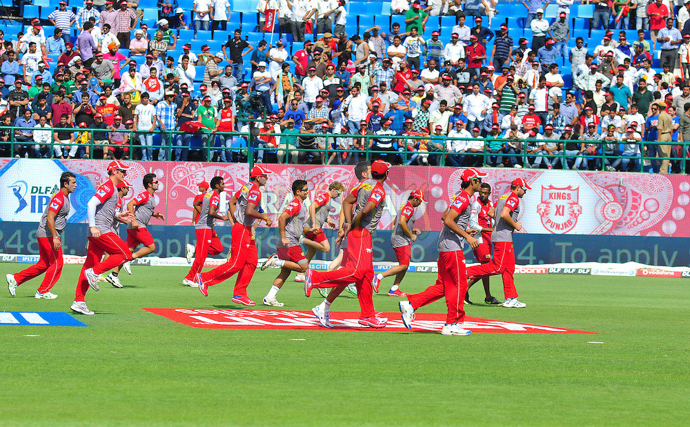 Kings X1 Punjab players warmup during match 69 of the the Indian Premier League ( IPL) 2012  between The Kings X1 Punjab and The Delhi Daredevils held at the HPCA Stadium, Dharamsala, on the 19th May 2012..Photo by Arjun Panwar/IPL/SPORTZPICS