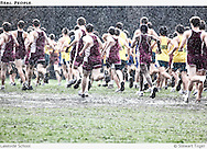 High school cross country race in a heavy rain.