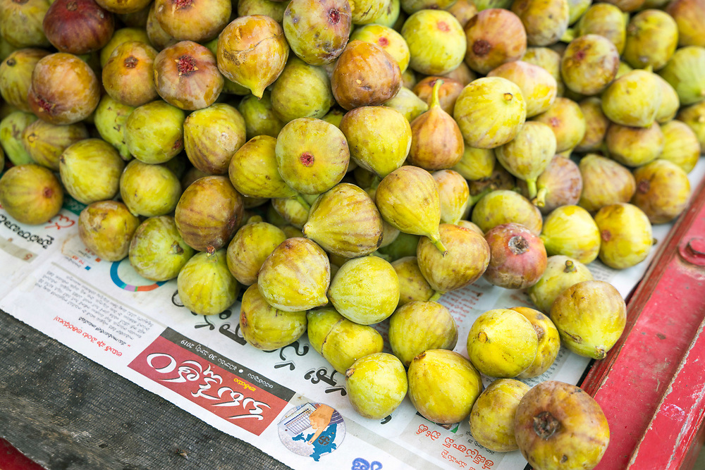 KADIRI, INDIA - 30th October 2019 - Fresh seasonal figs for sale at a food market stall in Kadiri town, Andhra Pradesh, South India