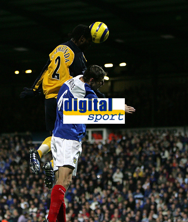 Photo: Lee Earle.<br /> Portsmouth v Wigan Athletic. The Barclays Premiership. 05/11/2005. Wigan's Pascal Chimbonda heads home the opening goal.