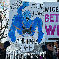 London UK. January 21st 2017.An estimated 100,000 protesters took part in a Women's March from the US Embassy in Grosvenor Square to Trafalgar Square as part of an international campaign on the first full day of Donald Trump's Presidency of the United States. One placard says 'Keep your hands and laws off' and another says 'Nice tits, better wits'.