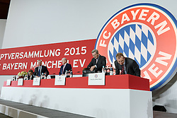 27.11.2015, Audi Dome, Muenchen, GER, FC Bayern Muenchen, Jahreshauptversammlung 2015, im Bild vl. Jan-Christian Dressen ( FC Bayern Muenchen ), Karl-Heinz Rummenigge ( FC Bayern Muenchen ), Rudolf Schels (FC Bayern Muenchen), Karl Hopfner ( FC Bayern Muenchen ) und Prof. Dr. Dieter Mayer ( FC Bayern Muenchen ) // during the 2015 Annual General Meeting of german football club FC Bayern Munich at the Audi Dome in Muenchen, Germany on 2015/11/27. EXPA Pictures © 2015, PhotoCredit: EXPA/ Eibner-Pressefoto/ Vallejos<br /> <br /> *****ATTENTION - OUT of GER*****
