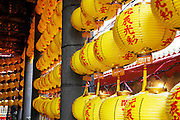 Chinese lanterns hang in Longson Temple.