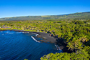 Punaluu Black Sand Beach, Pahala, Kau, Big Island of Hawaii, Hawaii
