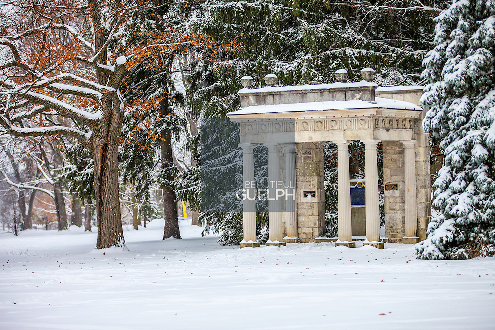 The portico is a landmark of the University of Guelph campus. Here it can be seen during winter, under a fresh blanket of snow. Photo by Mido Melebari